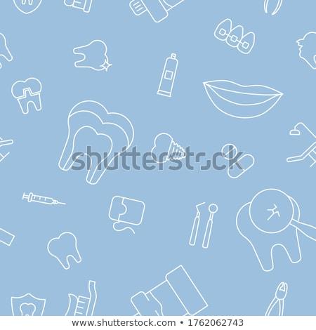 fogászati · végtelen · minta · fogápolás · fog · ecset · mosolyog - stock fotó © netkov1