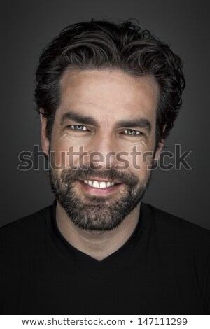 Smiling handsome man in mustache and white hair Stock photo © ozgur