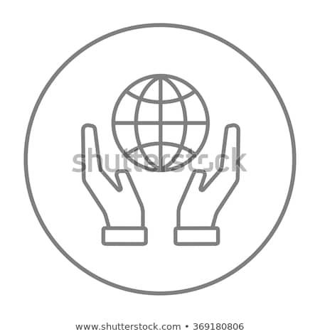 Twee handen wereldbol lijn icon Stockfoto © RAStudio