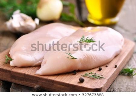 Stock fotó: Nyers · csirkemell · filé · fehér · porcelán · edény