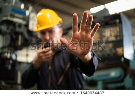 Stockfoto: Restricted Access Construction Worker Gesturing Stop Sign