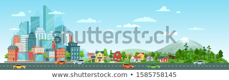 suburban landscape panoramic view stock photo © hraska