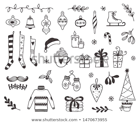 Doodle muffole icona inverno sport ragazzi Foto d'archivio © pakete