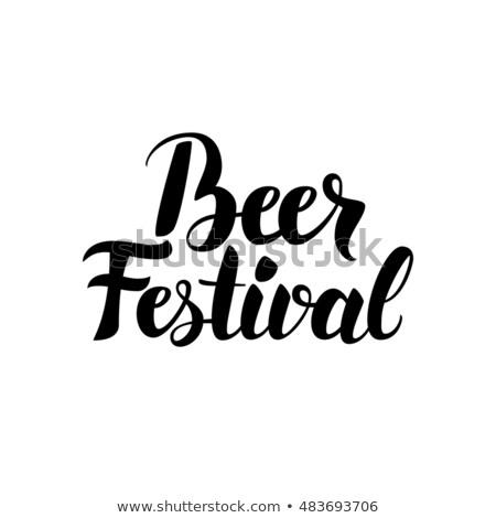 Piwa festiwalu karty nowoczesne kaligrafia odizolowany Zdjęcia stock © Anna_leni