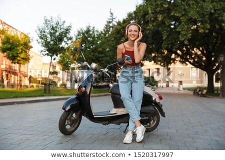 mooie · meisje · fiets · mooie · jonge · vrouw · roze - stockfoto © filipw