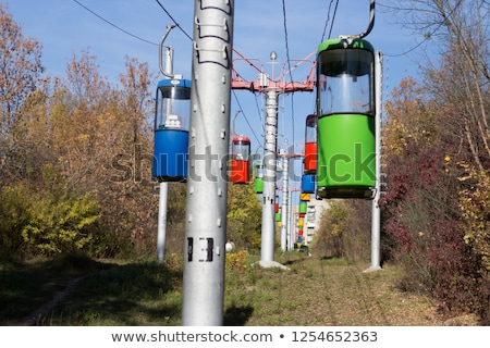 cableway with multicolored cabins stock photo © oleksandro