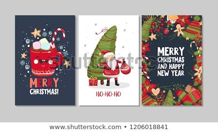 karácsony · üdvözlőlap · tél · tájkép · piros · zöld - stock fotó © beholdereye