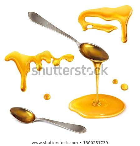 Foto d'archivio: Miele · cucchiaio · bianco · oro · drop