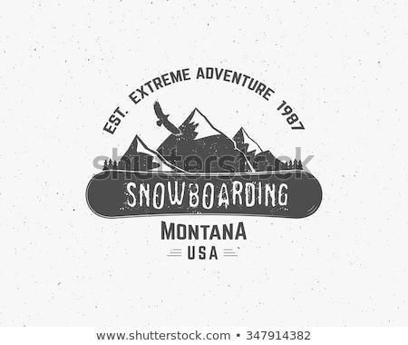 snowboarding logo label template winter sport badge extreme emblem and icon adventure insignia stock photo © jeksongraphics