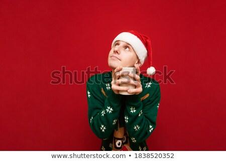 человека свитер питьевой горячей напиток Сток-фото © ozgur