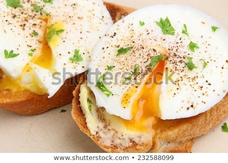 Torrado ovo alho espinafre tabela Foto stock © Peteer