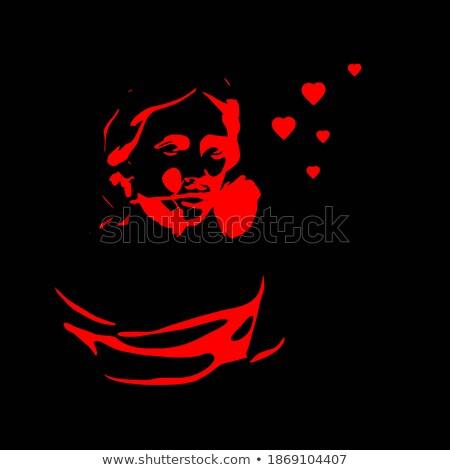 любви красный сердце геометрический 3d иллюстрации тень Сток-фото © elaine