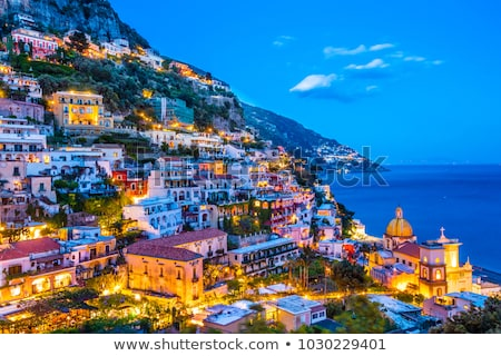 Napoli gün batımı İtalya görmek dağ su Stok fotoğraf © joyr