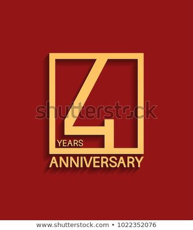 Negyedike évforduló ünneplés kitűző címke arany Stock fotó © SArts