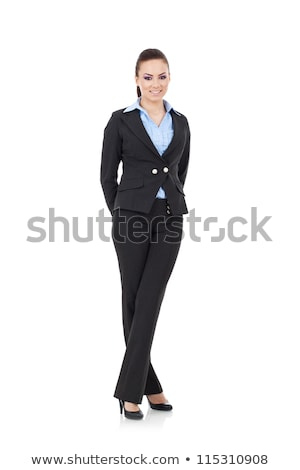 full body picture of a woman standing with hands crossed  Stock photo © feedough