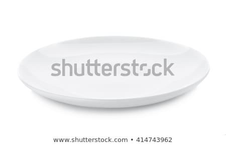 Vierkante witte porselein plaat diner rand Stockfoto © Digifoodstock