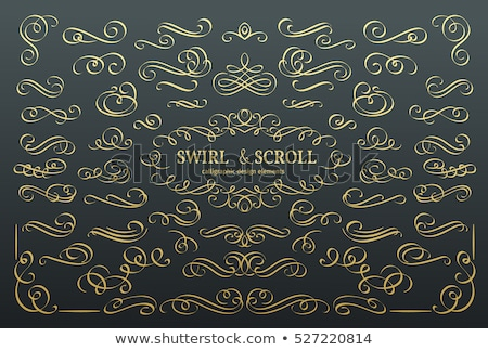 golden decorative calligraphic design elements   vector set stock photo © blue-pen