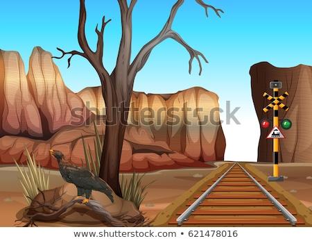Tren tema occidental ciudad ilustración ciudad Foto stock © bluering