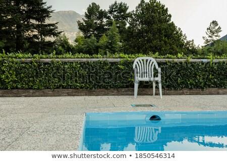 Foto stock: Ao · ar · livre · verão · tarde · transparente · piscina · superfície · da · água
