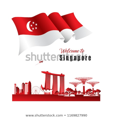 flag of singapore with skyline stock photo © ojal
