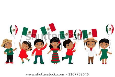 Vidám fiú lány tart zászló gyerekek boldog Stock fotó © bluering