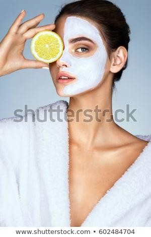 mooie · vrouw · cosmetische · masker · gezicht · huid · schoonheid - stockfoto © NikoDzhi