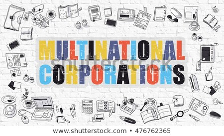 Multinacionális firka terv ikonok felirat fehér Stock fotó © tashatuvango