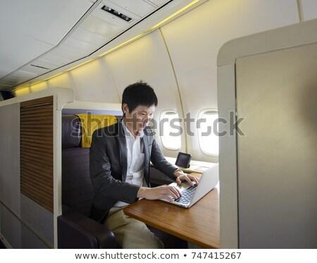 üzletember · dolgozik · laptop · unalom · pop · art · retró · stílus - stock fotó © studiostoks