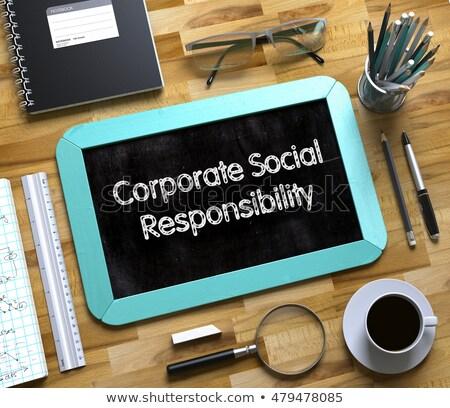 Kurumsal sosyal sorumluluk küçük kara tahta 3d render Stok fotoğraf © tashatuvango