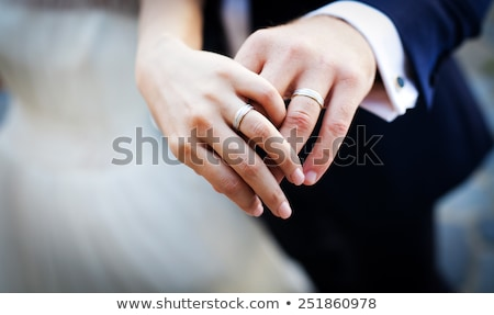bride and groom hands with wedding rings stock photo © is2