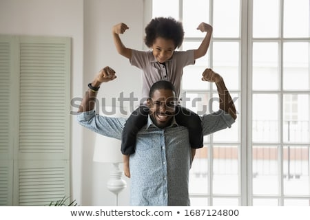 Сток-фото: мальчика · сидят · Плечи · семьи · человека · ребенка