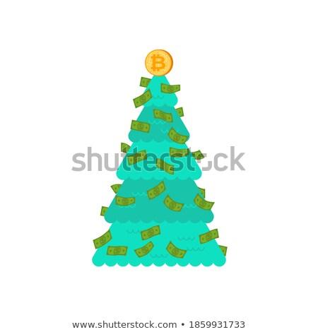 Arbre de noël financière bitcoin dollars décoration symbole Photo stock © MaryValery
