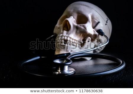 Foto stock: Estetoscopio · cráneo · enfoque · aislado · negro