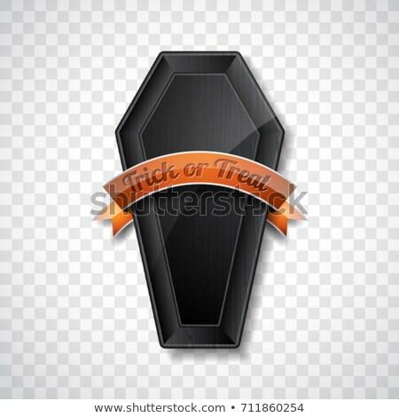 Feliz halloween brilhante preto madeira caixão Foto stock © articular