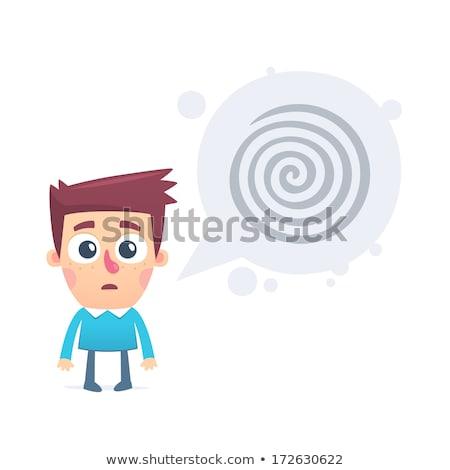 Onzeker man cartoon bubble pop art retro Stockfoto © studiostoks