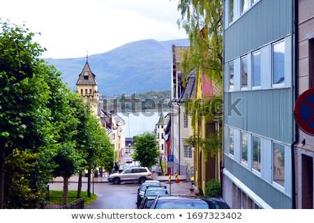 Eski araba sokak Norveç Avrupa ev İskandinavya Stok fotoğraf © kyolshin