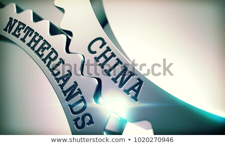 China Netherlands - Mechanism of Metallic Cogwheels. 3D. Stock photo © tashatuvango