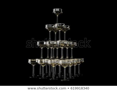 Viering piramide champagne bril Blur banket Stockfoto © fogen