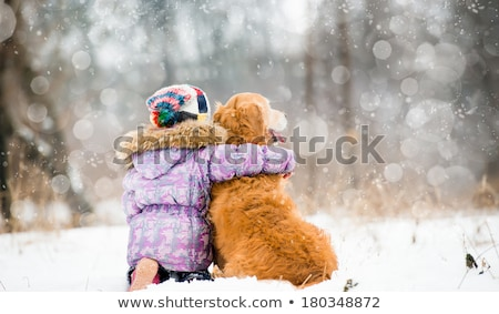 Children hugging in the snow Stock photo © IS2