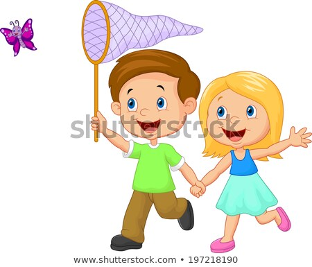 Brother and sister with butterfly nets Stock photo © IS2