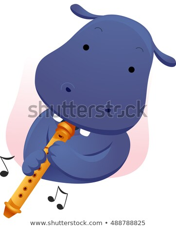 Mascot Music Hippopotamus Flute Stock photo © lenm