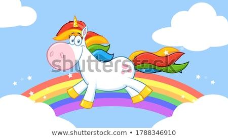 Uśmiechnięty magic maskotka cartoon charakter uruchomiony około Zdjęcia stock © hittoon
