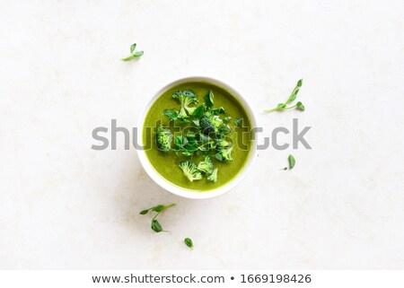 çanak brokoli çorba ev yapımı organik nane Stok fotoğraf © mpessaris