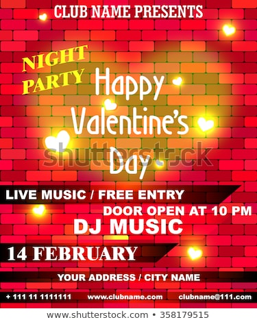 Vector Valentines Day Party Flyer Design with Typography and Hearth on Red Background.. Celebration  Stock photo © articular