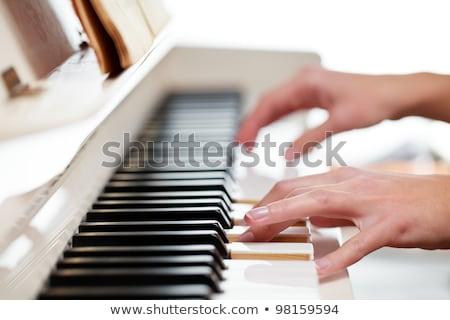 közelkép · feketefehér · billentyűzet · zongora · jókedv · fekete - stock fotó © lightpoet