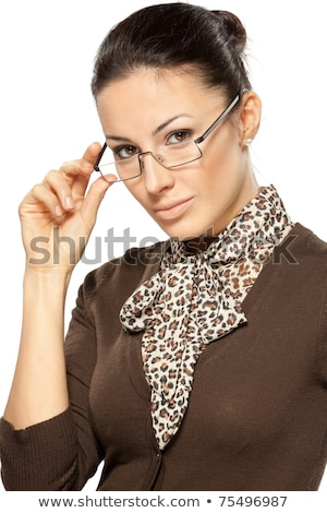 portrait of young business woman holding her eye-glasses Stock photo © Nobilior