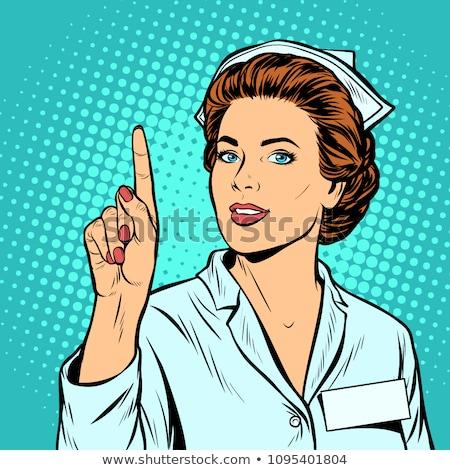 Frau Krankenschwester Aufmerksamkeit Geste Pop-Art Retro Stock foto © studiostoks