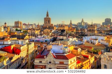 Naplemente sziluett Valencia Spanyolország óváros káprázatos Stock fotó © joyr