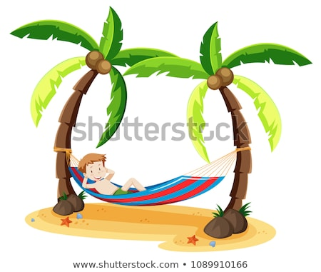 A Boy Chilling Under the Coconut Tree Stock photo © bluering