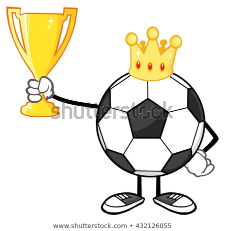 king soccer ball faceless cartoon character with crown holding a golden trophy cup stock photo © hittoon